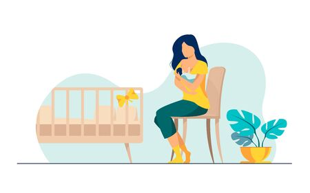 Happy mother breastfeeding her baby flat vector illustration. Cartoon parent giving milk to infant via breast. Health and parenting concept.