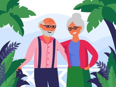Happy senior couple standing together and hugging. Palms, vacation, senior aged man and woman flat vector illustration. Love, relationships concept for banner, website design or landing web page 写真素材