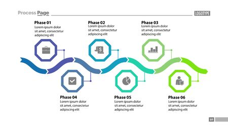 Six phase process chart design. Element of chart, diagram, infographic. Concept for presentation, annual report, slide template. Can be used for topics like business, plan, strategy Stock Photo