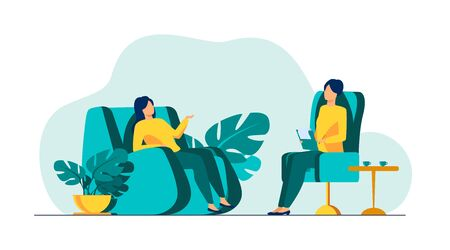 Woman visiting psychologist office. Patient sitting in armchair and talking to psychiatrist. Vector illustration for therapy session, psychotherapy counseling concept
