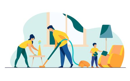 Happy family housekeeping together flat vector illustration. Daughter, mother and father working for household and clean home. Housekeeping and house concept