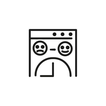 Icon of changing emotions. File, research, time, emoji. Peoples reaction concept. Can be used for topics like survey, deadline, customer satisfaction