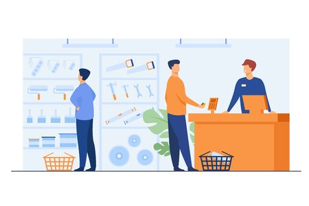 Tool shop customers. Men choosing instrument at showcase for painting or carpentry work, paying at checkout counter, consulting salesman. Vector illustration for hardware store, house repair concept
