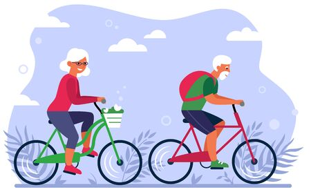 Old couple on bikes in park flat vector illustration. Cartoon happy grandpa and grandma cycling on nature together. Elderly activity and lifestyle concept Vectores
