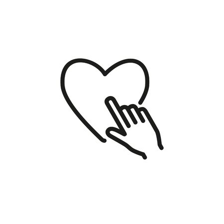 Line icon of hand pressing heart. Romance, dating, love. Valentines Day concept. Can be used for topics like holiday, health, relationship