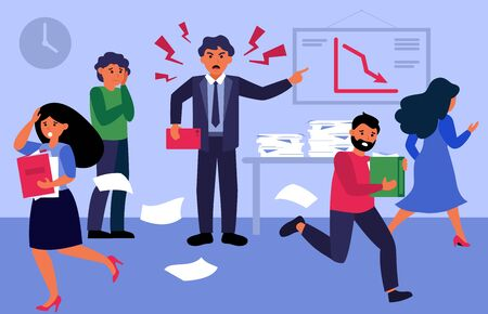 Angry boss shouting at people in office flat vector illustration. Cartoon employees working in hurry, panic and stress. Corporate chaos and deadline concept
