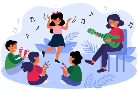 Happy kids having fun during their music class. Teacher and children playing guitar, clapping hands, dancing and singing at daycare preschool. Vector illustration for musical education concept Фото со стока - 147277276