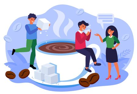 Coffee shop concept. Office people drinking black hot steaming coffee, talking, smiling among ceramic mug and coffee beans. Barista adding sugar to cup of espresso. Flat vector illustration 向量圖像