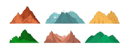 Mountain peaks set. Snow-caped, chains, rocky mountain landscape, green hills, glacier, top. Vector illustration for adventure travel, trekking, hiking, camping concept