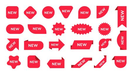 New stickers set. Red mew arrival marks of arrow, round, triangle, ribbon shapes, promo banner design. Vector illustration for shopping, sale, retail, special offer, discount concept