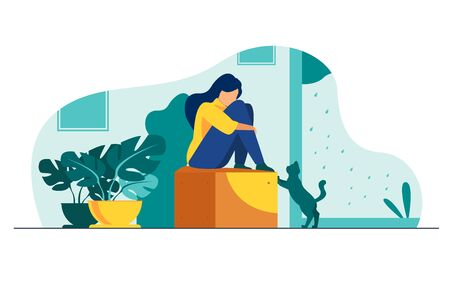 Lonely girl suffering from depression. Unhappy depressed young woman sitting, curling on couch at home, crying. Vector illustration for mental illness, sadness, stress concept