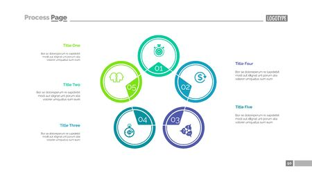 Five circles process chart slide template. Business data. Stage, diagram, design. Creative concept for infographic, presentation. Can be used for topics like management, banking, teamwork.