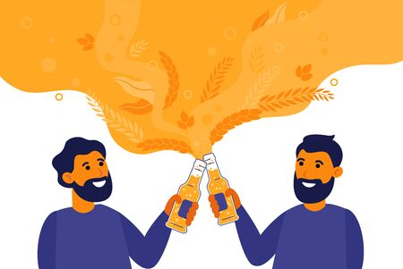 Bearded men drinking beer in bottle flat vector illustration. Hipsters smiling and cheers with wheat or malt pattern. Alcohol, drink and weekend concept