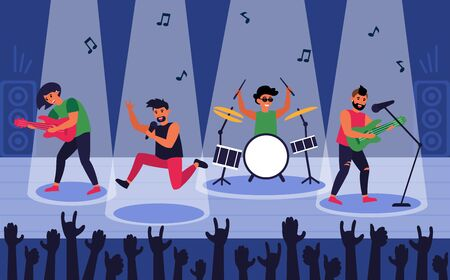 Rock band at scene for performance flat vector illustration. Happy singer and musicians characters playing song for people in crowd. Lifestyle and music concept Illustration