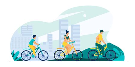 Family riding bikes in city park. Young couple with child cycling outdoors. Vector illustration for urban activity, healthy lifestyle, vacation concept Vectores