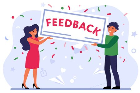Positive customer evaluation. Happy people holding placard with feedback word flat vector illustration. Customer satisfaction, rate concept for banner, website design or landing web page