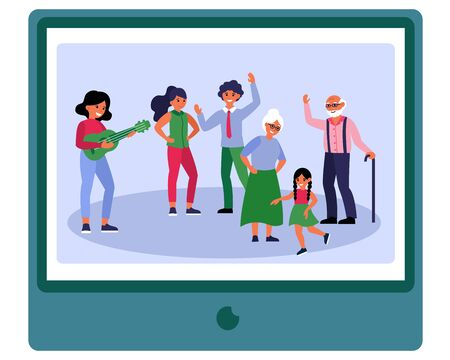 Big family party. Parents, grandparents and kid dancing to music flat vector illustration. Togetherness, unity, celebration concept for banner, website design or landing web page Illustration