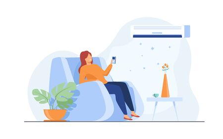 Woman relaxing in arm chair at home, turning on air conditioner system, holding remote control device. Flat vector illustration for summer, cleaning, comfort at home, appliance concept 向量圖像