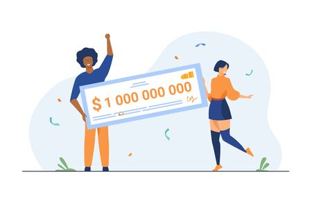 Happy girl and guy winning billion of cash, getting money prize, holding bank check. Flat vector illustration for grant, lottery winner, jackpot concept Ilustrace