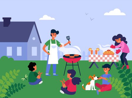 Family barbecue party. Parent grilling meat, cooking pie, children having fun on lawn flat vector illustration. Leisure, picnic, outdoor dinner concept for banner, website design or landing web page