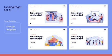 Set of people with relatives and money. Flat vector illustrations of men and women winning lottery or visiting psychologist. Wealth and family concept for banner, website design or landing web page