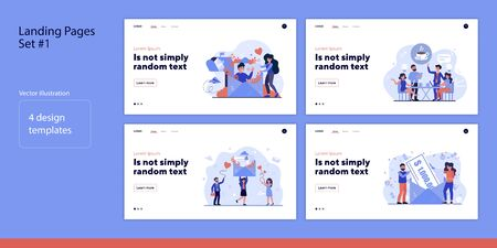 Set of tiny people receiving mail and winning. Flat vector illustrations of man and woman opening envelop or drinking coffee. Communication concept for banner, website design or landing web page