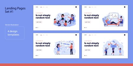 Set of people celebrating and consulting. Flat vector illustrations of men and women dancing, playing, winning. Lifestyle and self-care concept for banner, website design or landing web page