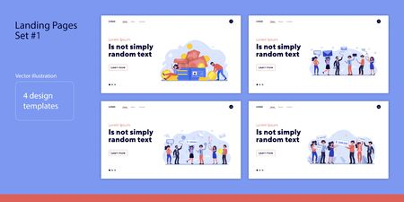 Set of people earning money. Flat vector illustrations of men and women celebrating profit. Business technology and cooperation concept for banner, website design or landing web page