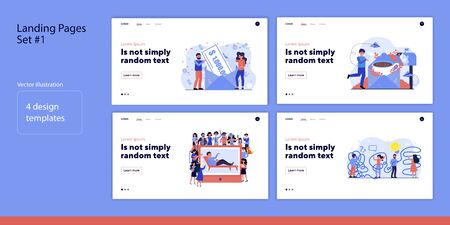 Set of working, winning and standing. Flat vector illustrations of different men and women in crowd. Daily routine and fortune concept for banner, website design or landing web page Ilustrace