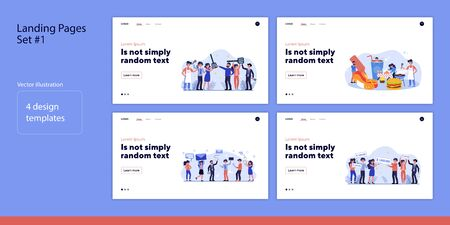 Set of people holding things. Flat vector illustrations of men and women eating, mailing, winning. Lifestyle and cooperation concept for banner, website design or landing web page