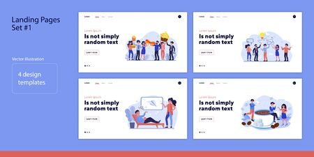 Set of business people together. Flat vector illustrations of men and women having lunch or solving problem. Brainstorm and cooperation concept for banner, website design or landing web page
