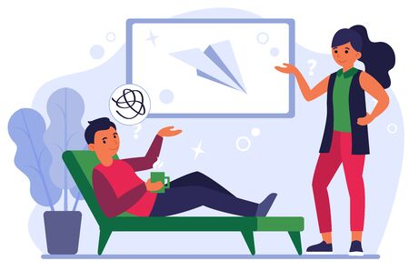 Couple discussing paper plane on board. Message, presenting or showing gesture, asking flat vector illustration. Communication concept for banner, website design or landing web page