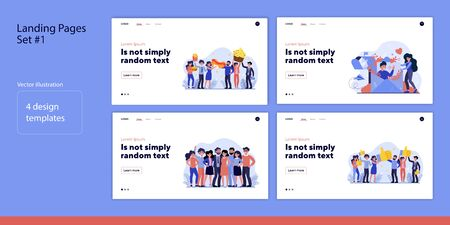 Set of people with friends. Flat vector illustrations of men and women working in team, eating, mailing. Cooperation concept for banner, website design or landing web page