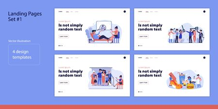 Set of people with family. Flat vector illustrations of men and women cooking, taking photo or consulting doctor. Relationship concept for banner, website design or landing web page Illustration