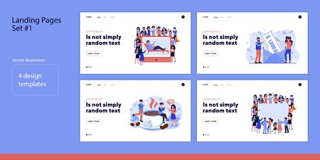 Set of various people surrounding screen. Flat vector illustrations of men and women winning money, drinking hot coffee. Communication concept for banner, website design or landing web page