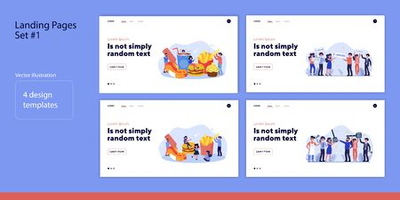 Set of people eating or celebrating together. Flat vector illustrations of men and women winning million and eating fast-food. Food and luck concept for banner, website design or landing web page Ilustrace