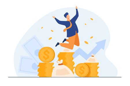 Happy rich banker celebrating income growth. Broker enjoying success in stock market trading. Flat vector illustration for money, finance, millionaire concept Ilustracja