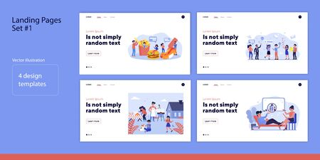 Set of people with food, lottery ticket or problem. Flat vector illustrations of men and women cooking, winning, consulting. Lifestyle and luck concept for banner, website design or landing web page Ilustrace