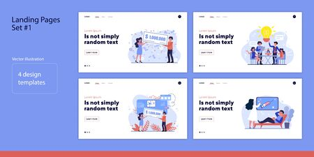 Set of tiny people winning money, brainstorming. Flat vector illustrations of man and woman visiting doctor, chatting. Luck and cooperation concept for banner, website design or landing web page