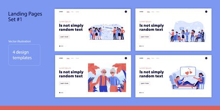Set of people and happy moments. Flat vector illustrations of men and women winning, working, relaxing. Happiness and lifestyle concept for banner, website design or landing web page