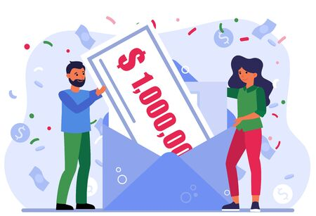 Cheerful people winning money prize. Man and woman receiving envelope with check for million dollars flat vector illustration. Lottery winners concept for banner, website design or landing web page Ilustrace