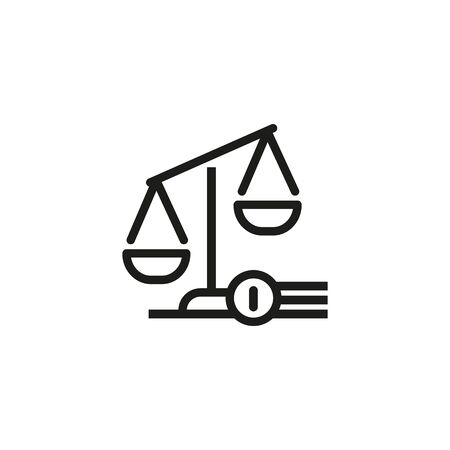 Line icon of scales. Judgement symbol, law, balance. Court concept. Can be used for topics like legislation, judicial system, law Reklamní fotografie