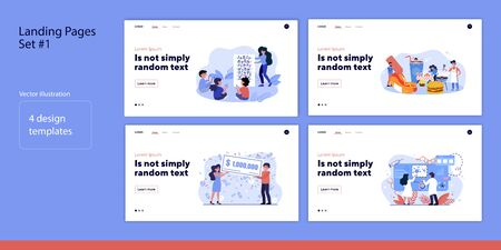 Set of people and life moments. Flat vector illustrations of men and women teaching, eating, working, winning. Lifestyle and activity concept for banner, website design or landing web page Ilustrace
