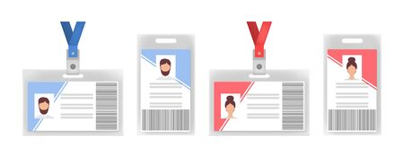 Corporate id cards flat icon set. Employee name badge and staff pass with photo isolated vector illustration collection. Identification and organization concept