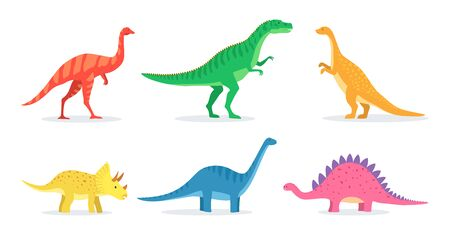 Dinosaurs toys for baby flat icon set. Cute cartoon dino for children learning isolated vector illustration collection. Education and prehistoric reptiles concept Vettoriali