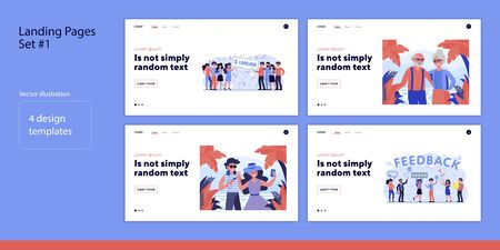 Set of people winning lottery and traveling. Flat vector illustrations of men and women taking photo and giving feedback. Wealth and vacation concept for banner, website design or landing web page