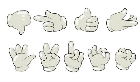 Cartoon hands in gloves flat icon set. Human character palms and fingers in white gloves showing gestures isolated vector illustration collection. Gesturing and motion concept