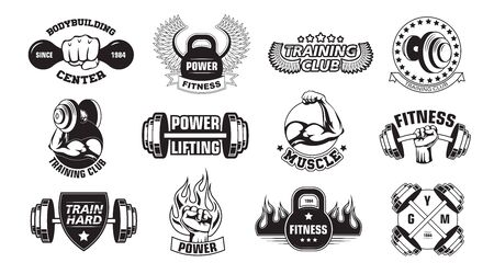 Gym retro logos set. Monochrome bodybuilders club emblems and stamps with barbells, fists and fire. Flat vector illustration for aggressive style for bodybuilding, fitness, body training concepts