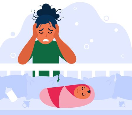 Newborn baby and tired mom concept. Depressed new mother leaning on bed with child, holding head, feeling sad and anxiety. Flat vector illustration 向量圖像
