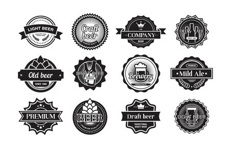 Beer logos set. Monochrome brewery badges and emblems design. Flat vector illustration in vintage style for old bars and pubs concepts Logo